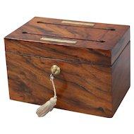 Antique English Rosewood Letter Box w/ Bramah Lock & Key; Stationary Box