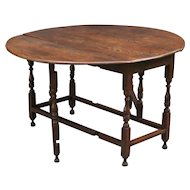 Antique English Oak Drop Leaf Gate Leg Table