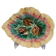 Antique Majolica Begonia Leaf Plate, Etruscan, Griffin Smith & Hill