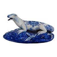 Antique Dutch Delft Faience Figural Lizard Figurine