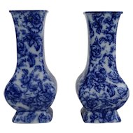 Antique Blue & White Cavendish Vases, Pair, English