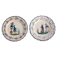 Early Pie Crust Quimper Plates, Set of 2, French Faience, Circa 1910