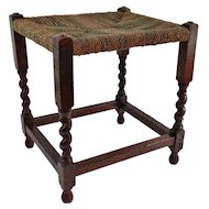 Oak Twist Footstool w/ Woven Seat, England, Circa 1940, Foot Stool