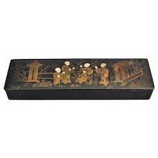 Early Papier Mache Gilt Pen & Pencil Box