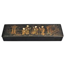 Early Papier Mache Gilt Pen & Pencil Box