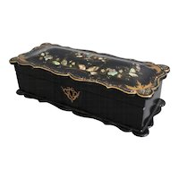 Antique English Papier Mache Box with Mother of Pearl