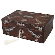 19th-Century French Rosewood Box w Shell Inlay, Lock & Key, Jewelry, Sewing, Documents