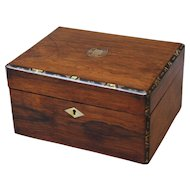19th-C. Rosewood & Shell Box, English