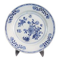 Antique Dutch Delft Chinoiserie Plate, 18th-Century