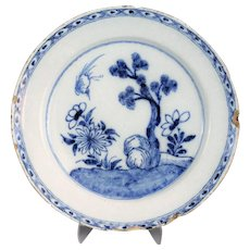 Antique Dutch Delft Faience Chinoiserie Charger, 18th-Century