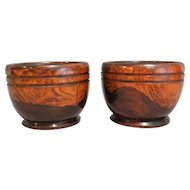Antique English Lignum Vitae Catch-All Bowls, Pair