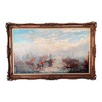 Antique Venice Seascape, Oil on Canvas, Francis Moltino, Artist (1818 - 1874)