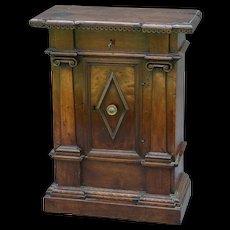18th-Century Antique Italian Baroque Walnut Comodino Commode Cabinet