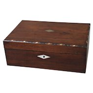 19th-C English Mahogany Box with Shell Inlay