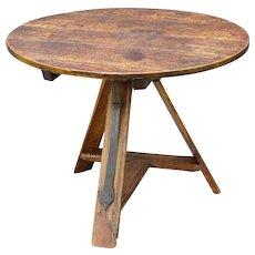 18th-C. French Elm Tilt Top Wine Table