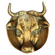 English Bronze Bull Catch All Trinket Dish, 1930