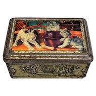 French Lithograph Confection Tin, Dog, Cats, Kittens