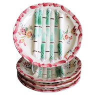 Antique French Longchamp Majolica Asparagus Plates, Set of 4