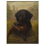 Labrador Retriever Dog Portrait Antique Oil Painting, 'Chebula' Henry Crowther