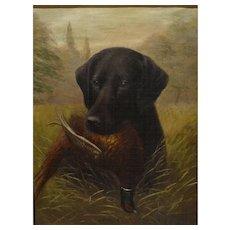Labrador Retriever Dog Portrait Antique Oil Painting, 'Chebula' Henry Crowther