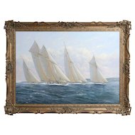 Yacht Race Nautical Oil Painting, Michael James Whitehand, Marine, Seascape