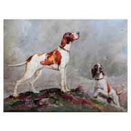 Sporting Dogs in a Highland Landscape, Watercolor Painting