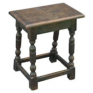 Antique English Pegged Oak Joint Stool