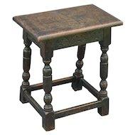 Antique English Pegged Oak Joint Stool