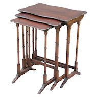 French Mahogany Nesting Tables, Set of 3