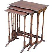 French Mahogany Nesting Tables, Set of 3