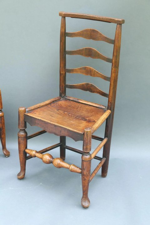 Antique English Elm Youth / Child Chairs, Pair - Antique English Elm Youth / Child Chairs, Pair : Faded Rose Antiques