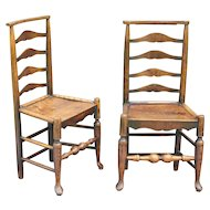 Antique English Elm Youth / Child Chairs, Pair