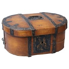 19th-C. Swedish Baroque Box Trunk Chest with Iron Mounts
