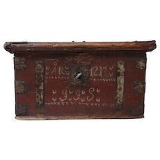 19th-Century Swedish Marriage Chest Bride's Box Chest Trunk 1817 Lock & Key