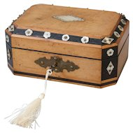 French Satin Wood & Mother of Pearl Box, Lock & Key
