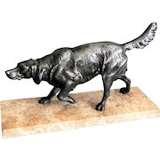French Bronze Figural Sporting Dog Sculpture on Marble Plinth