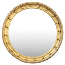 English Gold Leaf Convex Bullseye Bull's Eye Mirror