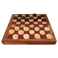 Early English Chess Checkers Backgammon Boxed Game
