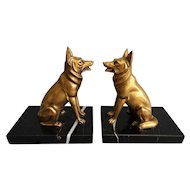 Art Deco German Shepherd Dog Bronze & Marble Bookends