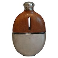 English Leather & Silver-Plate Hip Flask