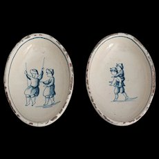 Antique Delft Chinoiserie Faience Dishes with Children Figures, Set of 2