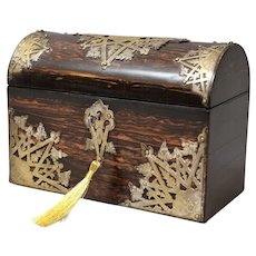 Antique English Coromandel Box, Lock & Key