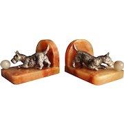 English Art Deco Bronze & Marble Scottie Dog Bookends