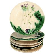 Antique French Majolica Asparagus Plate, 4 Available