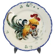French Luneville K & G Rooster Plate, 'Les Coqs'
