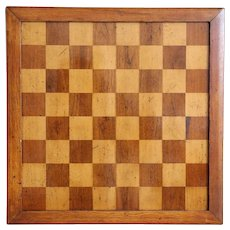 Large Antique English Game Board, Checker / Chess / Nine Men Morris
