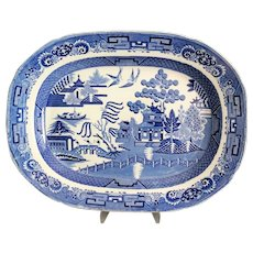 Large Antique Staffordshire Platter, Blue Willow