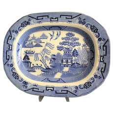 Large Antique Staffordshire Blue Willow Platter