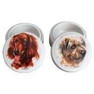 Set of 2 English Dog Trinket Jars