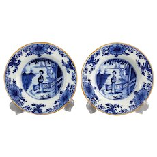 18th-Century Dutch Delft Plates with Figures, Long Eliza, Pair